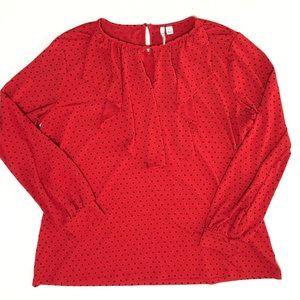 Elle Red Black Polka Dot Ruffled Holiday Shirt XL